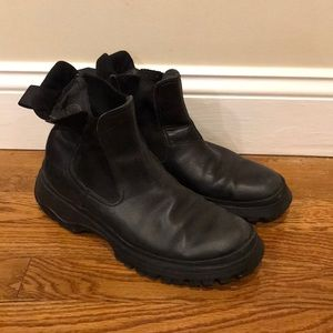 Prada Men's Chelsea Leather Ankle Pull On Boots